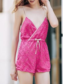 Rose Red Lace Cami Playsuit - Rose Xl