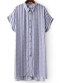 Button Down Striped Shirt Dress