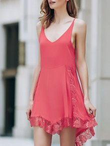 Lace Spliced Plunging Neck Irregular Hem Dress