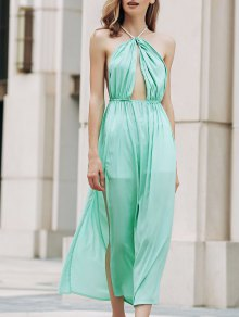 Backless Halter Cut Out High Slit Long Dress