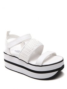 Platform Solid Colour Sandals - White