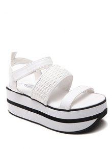 Platform Solid Colour Sandals - White