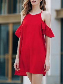 Cold Shoulder Ruffle Sleeve Red Dress