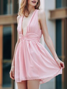 Back Crossed Plunging Neckline Cut Out Dress - Pink
