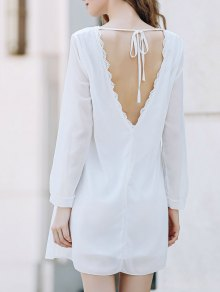Solid Color Round Collar Long Sleeve Chiffon Dress - White