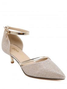 Two-Piece Sequied Cloth Pointed Toe Pumps - Golden