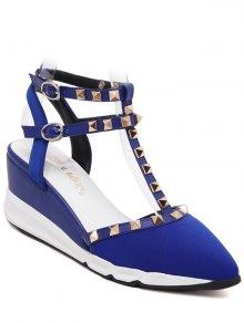 Buy Rivet Pointed Toe T-Strap Sandals 38 BLUE