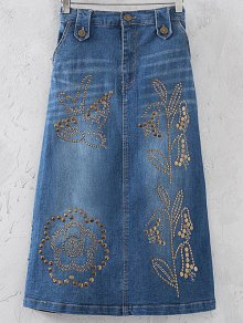 Embellished A-Line Denim Skirt