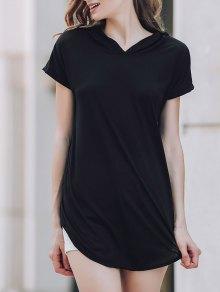 Hooded Pocket Design T-Shirt - Black