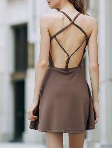 Solid Color Backless Scoop Neck Dress - Light Brown