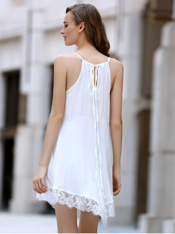Lace Spliced Plunging Neck Irregular Hem Dress - WHITE L Mobile