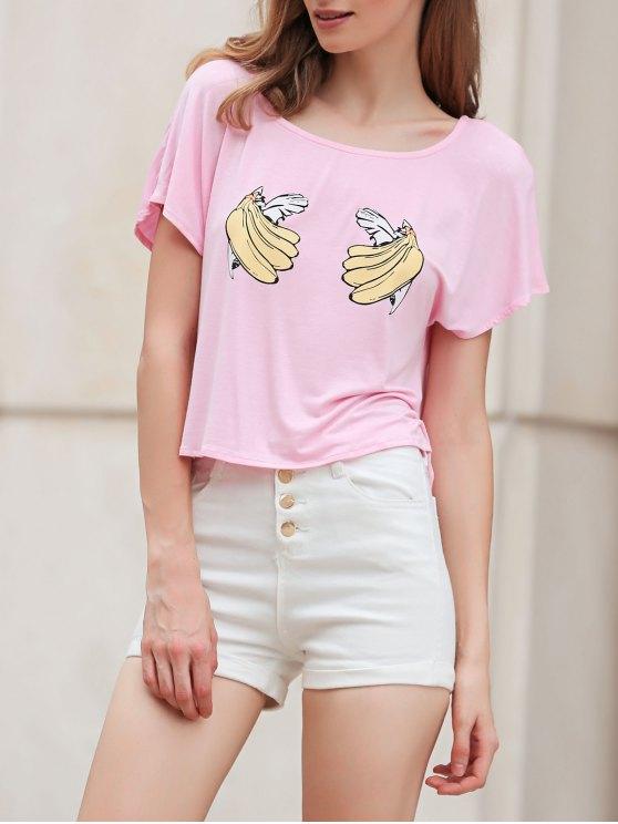 shop Banana Print Short Sleeve Cropped T-Shirt - PINK XL