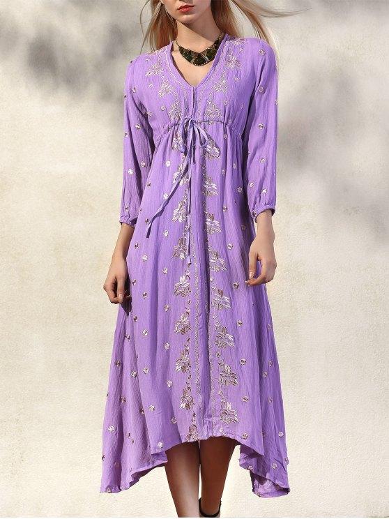 Talle alto con cuello en V manga 3/4 vestido bordado - Púrpura S