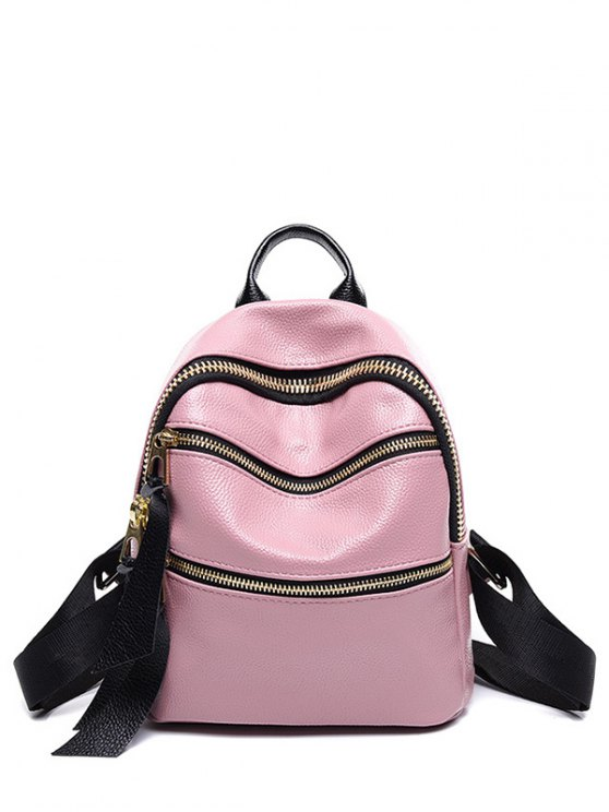 ZIPPERS solide en cuir couleur PU Satchel - ROSE PÂLE