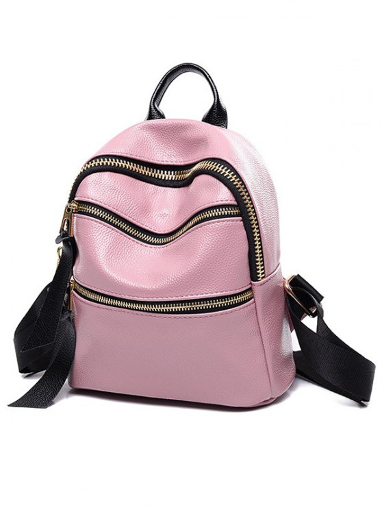 Zippers Solid Color PU Leather Satchel - PINK  Mobile