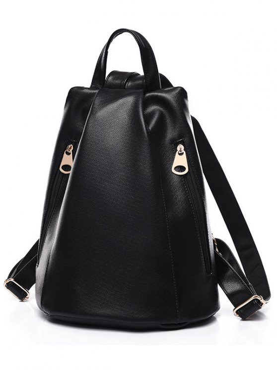 hot Double Zips Solid Color PU Leather Satchel - BLACK