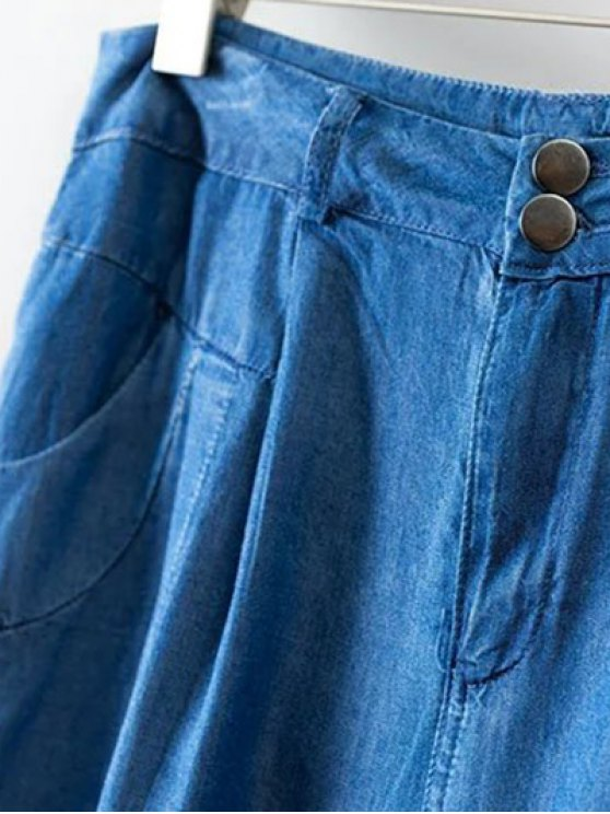 Chambray Casual Pockets Harem Pants - ICE BLUE M Mobile
