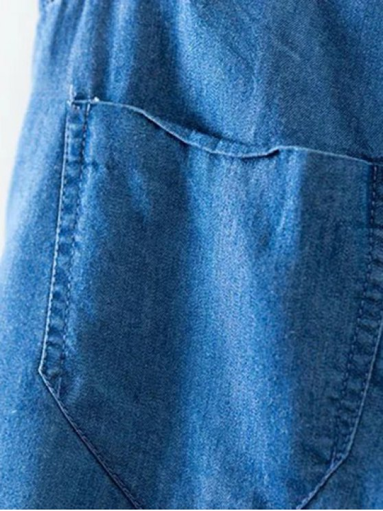 Chambray Casual Pockets Harem Pants - ICE BLUE S Mobile