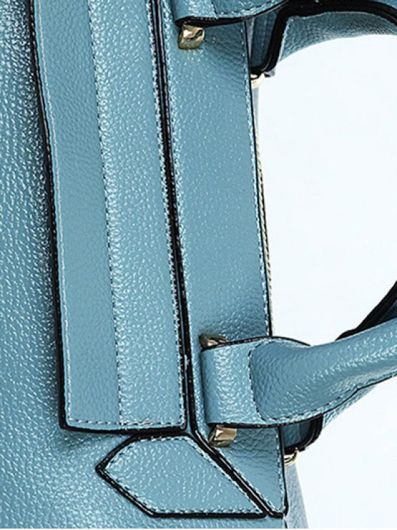 PU Leather Solid Colour Tote Bag - BLUE  Mobile
