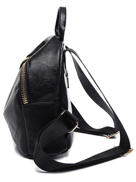 Embossing Zip PU Leather Satchel - BLACK  Mobile