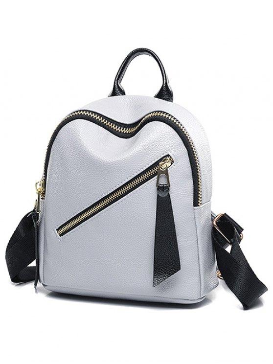 PU Leather Zipper Solid Color Satchel - LIGHT GRAY  Mobile