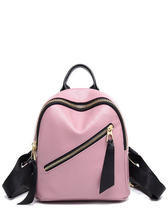 PU cuir Zipper Solid Color Satchel - Rose Pâle