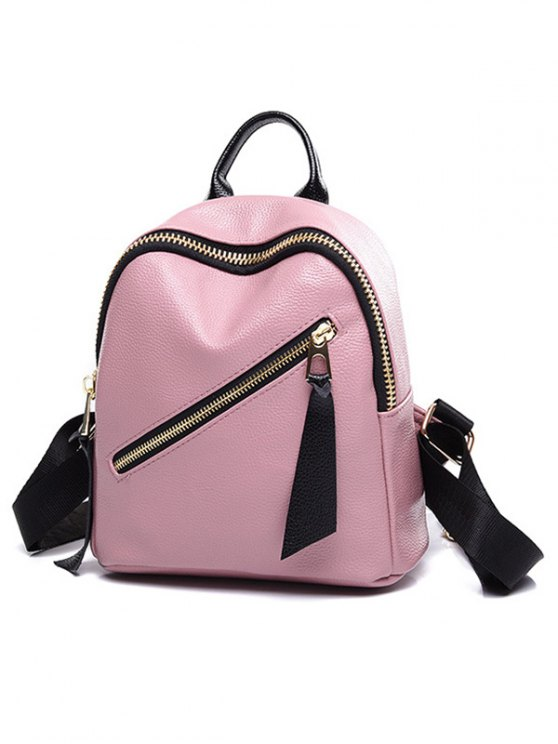 PU Leather Zipper Solid Color Satchel - PINK  Mobile
