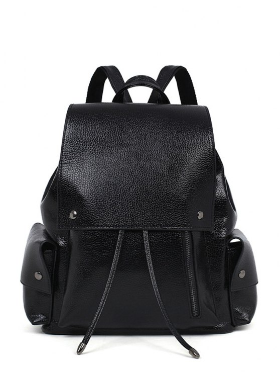 womens PU Leather Solid Color Cover Satchel - BLACK