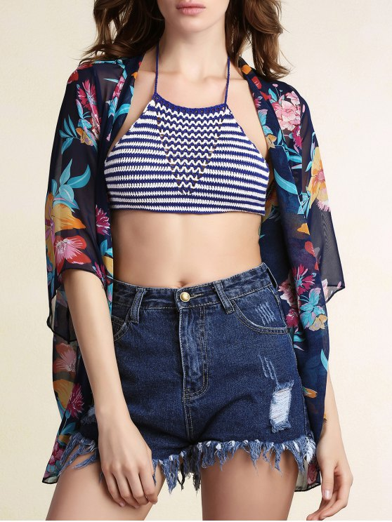women's Floral Print Collarless Bat-Wing Sleeve Chiffon Cover Up - BLUE M