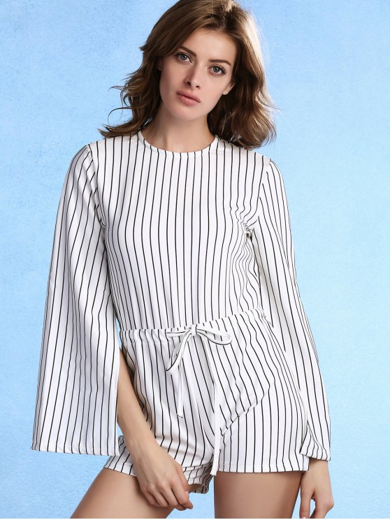 Stripe Round Neck Long Slit Sleeve Romper - WHITE ONE SIZE(FIT SIZE XS TO M) Mobile