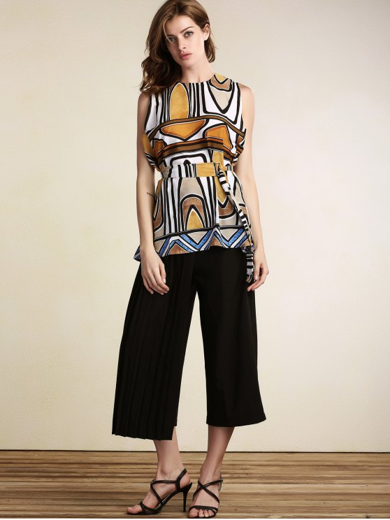 Geometric Pattern Round Neck Sleeveless Dress - COLORMIX M Mobile