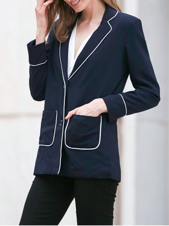 Contrasting Piped Blazer - PURPLISH BLUE XL Mobile