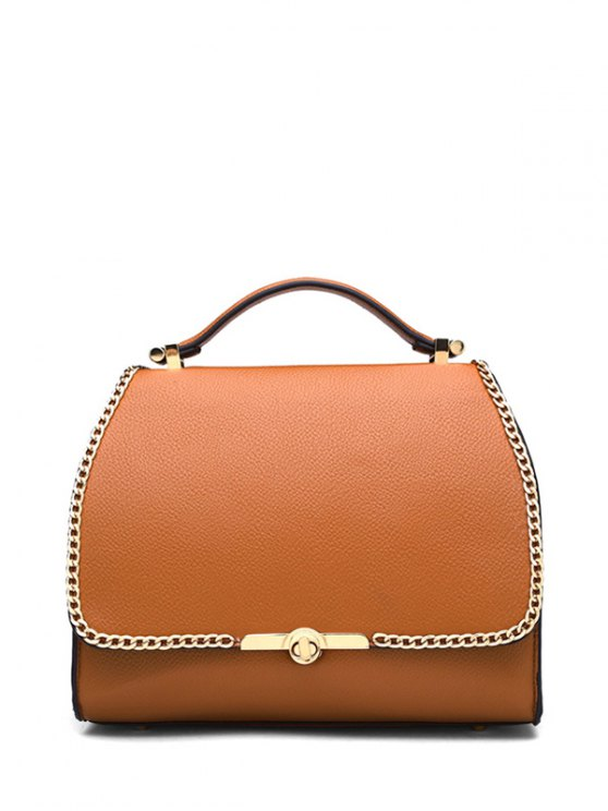 Chains Hasp Solid Color Tote Bag - BROWN  Mobile