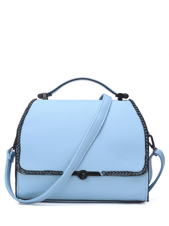 Chains Hasp Solid Color Tote Bag - BLUE  Mobile