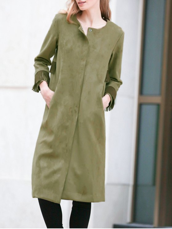 outfits Fringed Round Neck Suede Coat - ARMY GREEN M