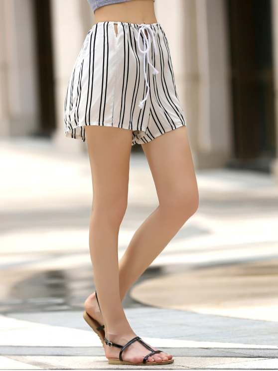 Loose Striped Cut Out High Waist Shorts - WHITE XL Mobile