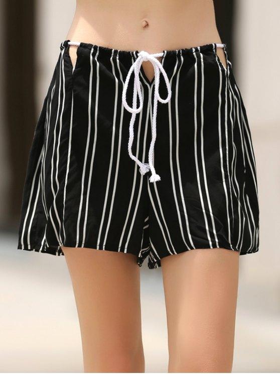 Loose Stripes Cut Out High Waist Shorts - BLACK XL Mobile
