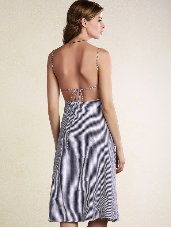 Striped Spaghetti Straps Backless Dress - LIGHT BLUE M Mobile