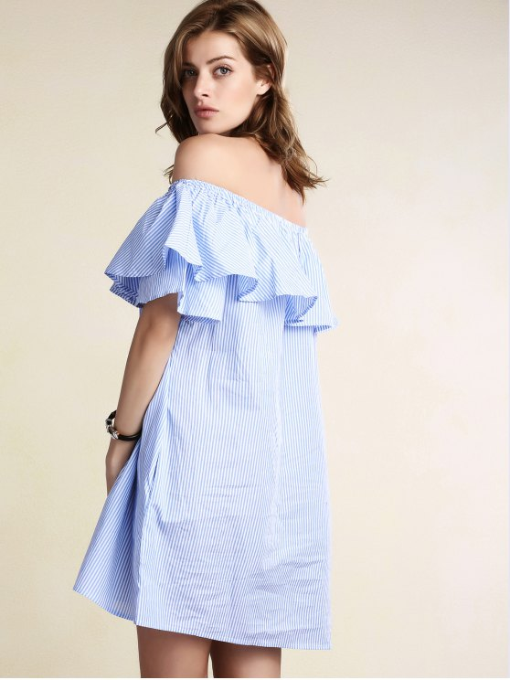 Striped Off Shoulder Flouncing Loose Dress - LIGHT BLUE L Mobile