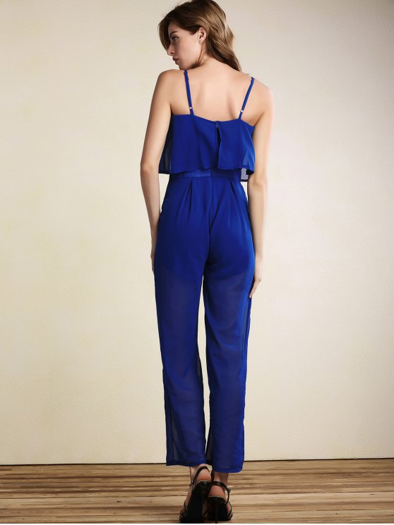 Overlayed Wide Leg Jumpsuit - BLUE XL Mobile
