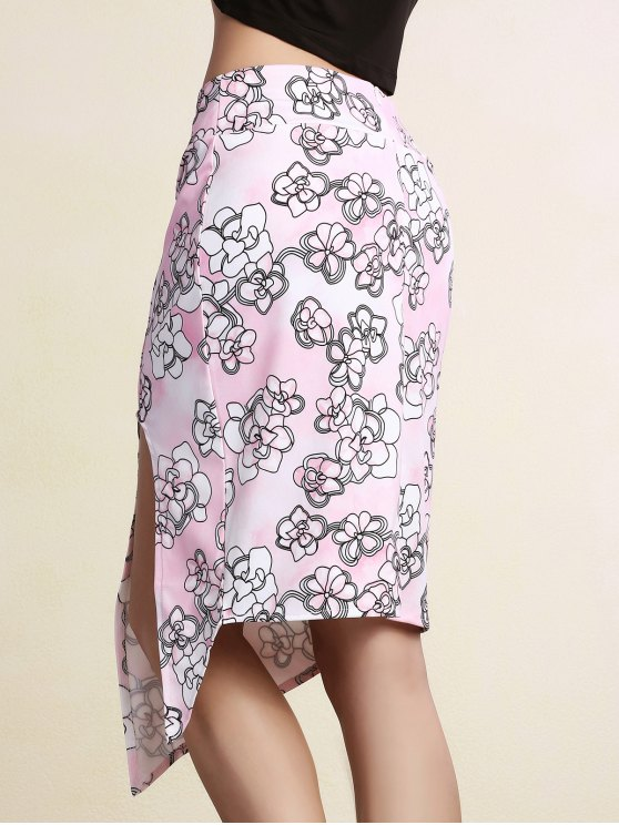 Printed Pencil Slit Skirt - PINK S Mobile