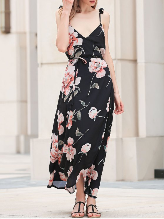 Spaghetti Strap Low Cut Floral Maxi Dress - BLACK S Mobile
