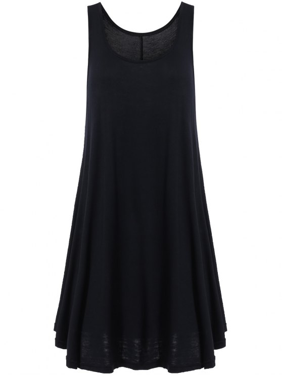 fancy Irregular Hem Scoop Neck Sundress - BLACK S