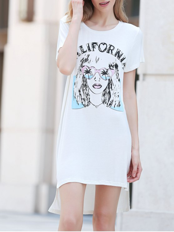 Casual cuello redondo impresa vestido de manga corta - Blanco XL
