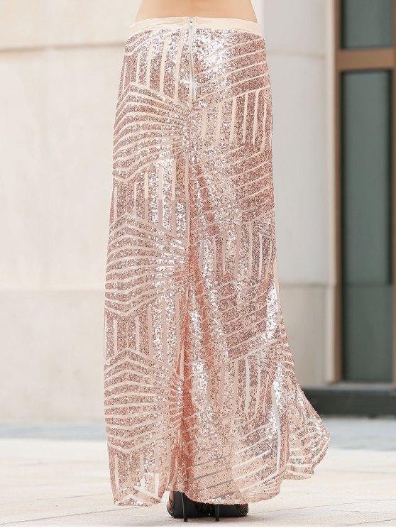 Sequins High Slit Long Skirt - PLATINUM XL Mobile