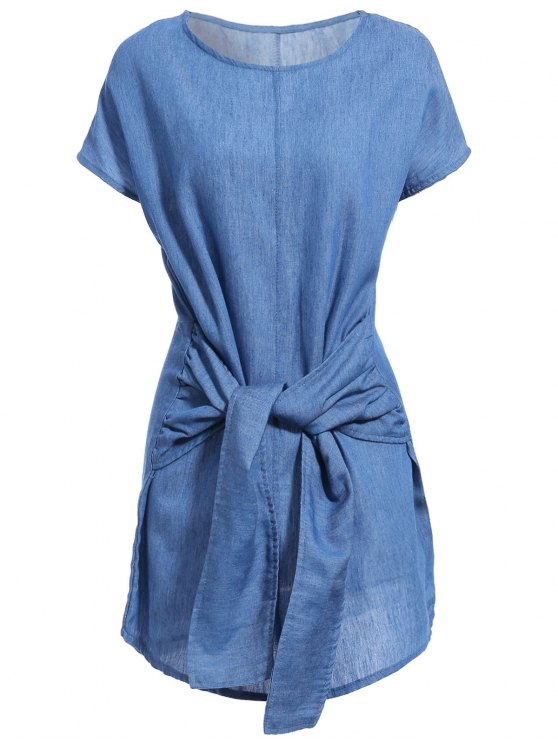 trendy Solid Color Tied Round Neck Bat-Wing Sleeve Denim Dress - DEEP BLUE XL