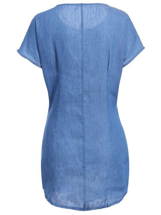 Solid Color Tied Round Neck Bat-Wing Sleeve Denim Dress - DEEP BLUE XL Mobile