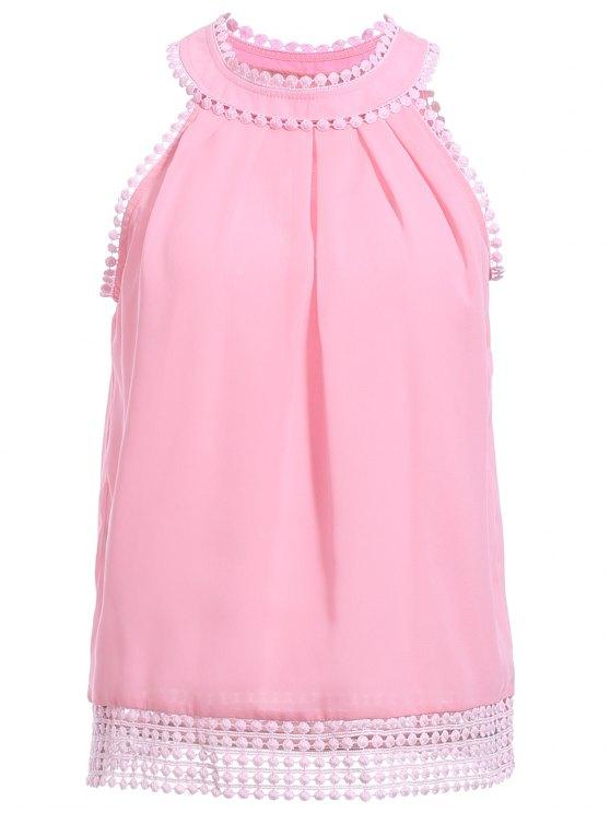 online Pink Chiffon Round Neck Sleeveless Tank Top - PINK S