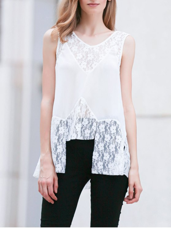 fancy Lace Splice V Neck Sleeveless White Blouse - WHITE XL