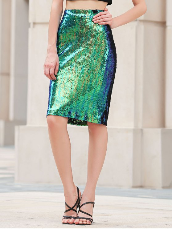 Bodycon High Waisted Sequins Skirt - GREEN S Mobile